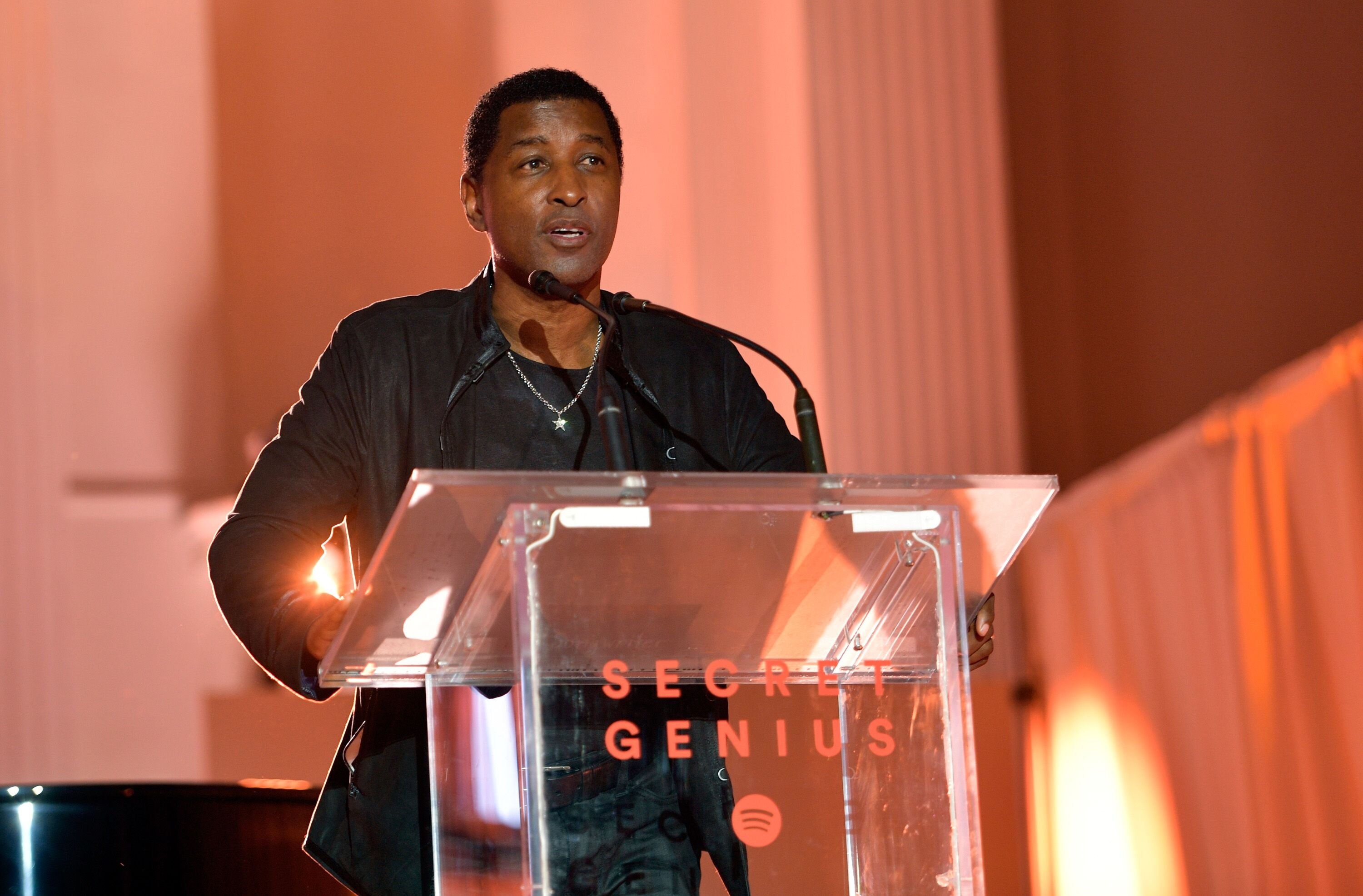 "Kenneth ""Babyface"" Edmonds speaks onstage during Spotify's Inaugural Secret Genius Awards hosted by Lizzo at Vibiana on November 1, 2017 in Los Angeles, California. 