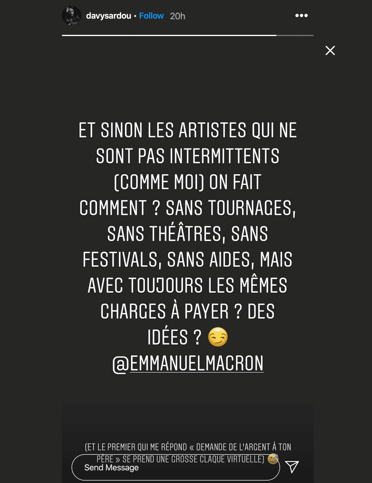 Story de Davy Sardou. | Photo : Story Instagram