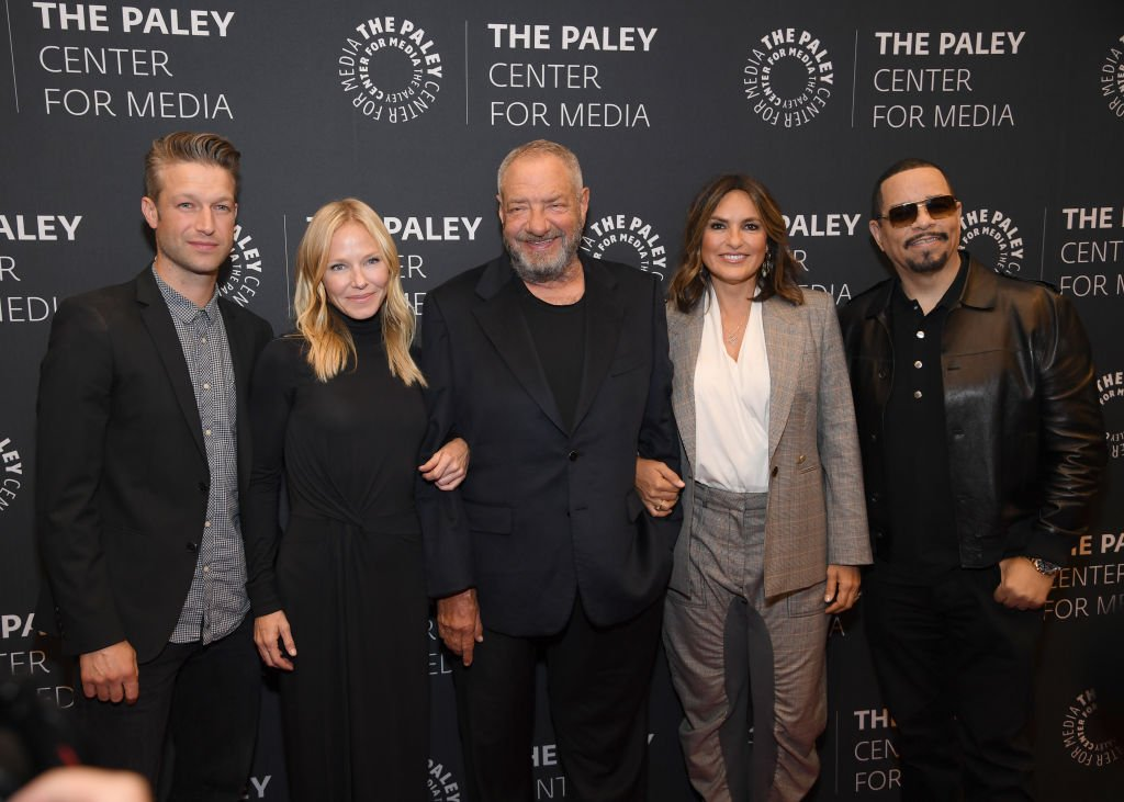 "Peter Scanavino, Kelli Giddish, Dick Wolf, Marishka Hargitay and Ice-T attend the ""Law & Order: SVU"" Television Milestone Celebration 