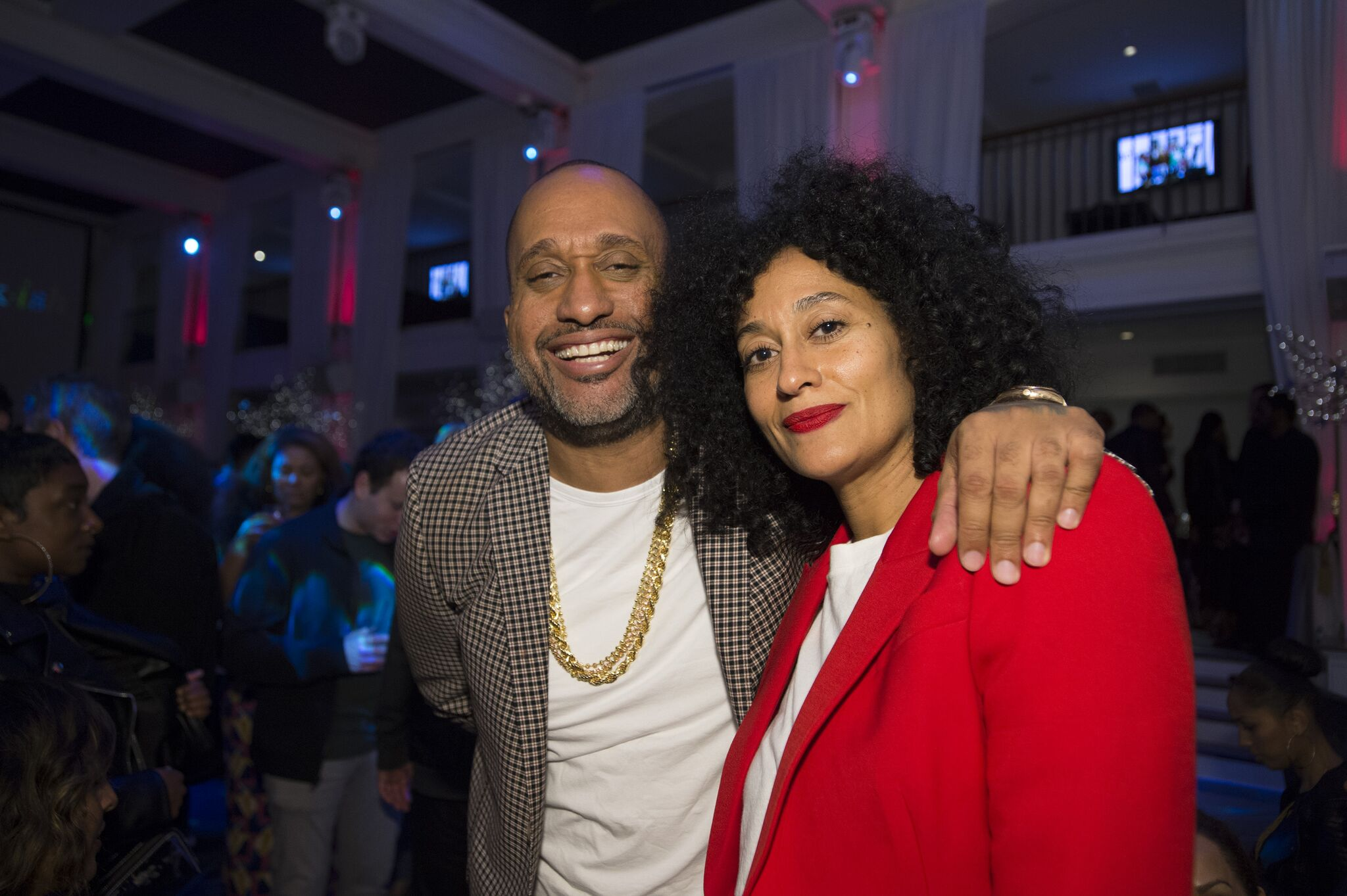 """Kenya Barris and Tracee Ellis Ross at the Season 4 wrap party of """"Black-ish""""  in Los Angeles. 