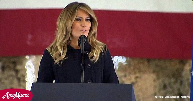 Melania Trump delivers powerful speech at army base while glowing in a military style jacket