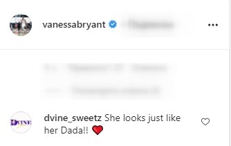 A screenshot of a fan's comment on Vanessa Bryant's post on her instagram page | Photo: instagram.com/vanessabryant/