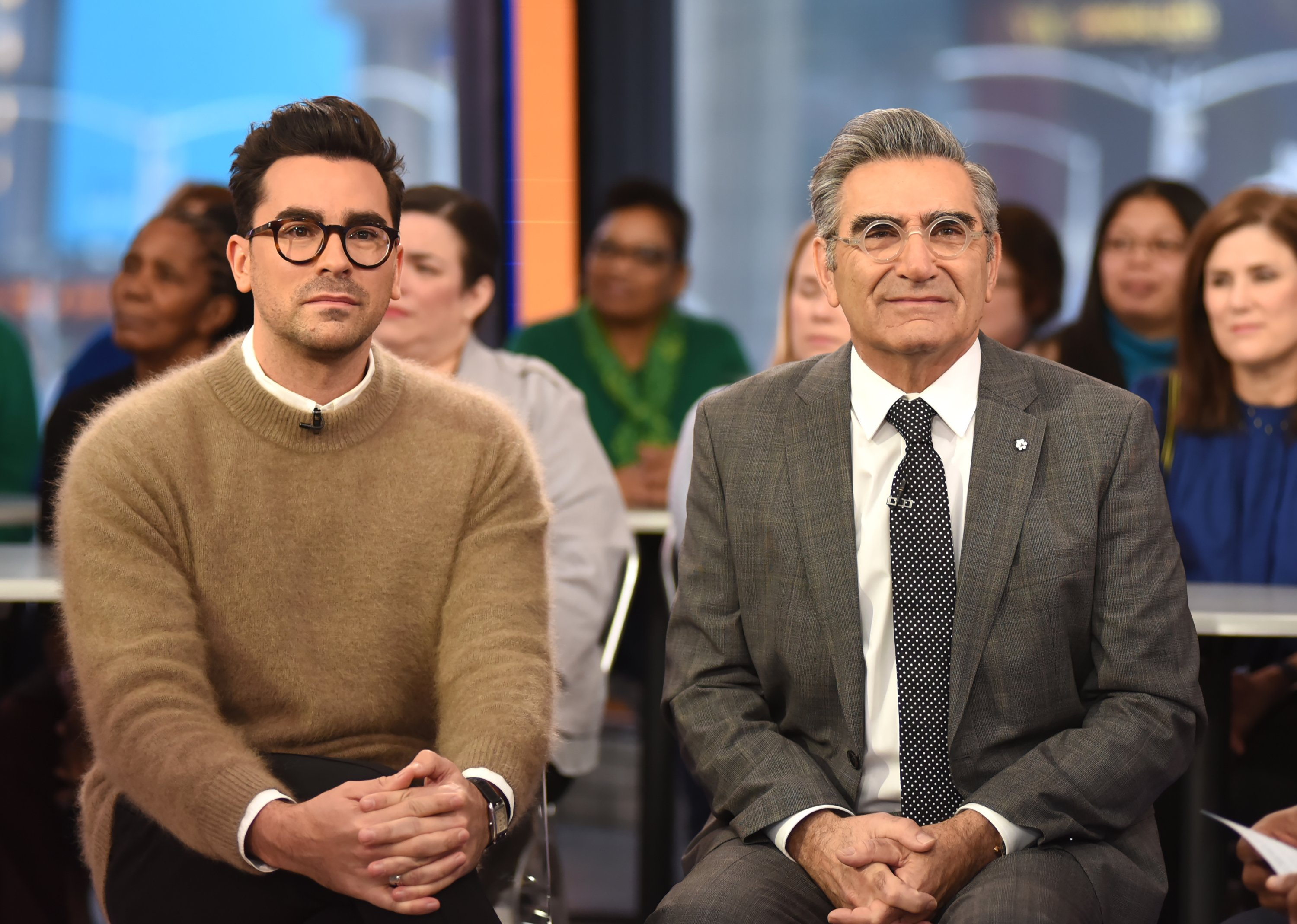 """Eugene Levy and Dan Levy visit """"Good Morning America"""" on January 24, 2018   Photo: Getty Images"""