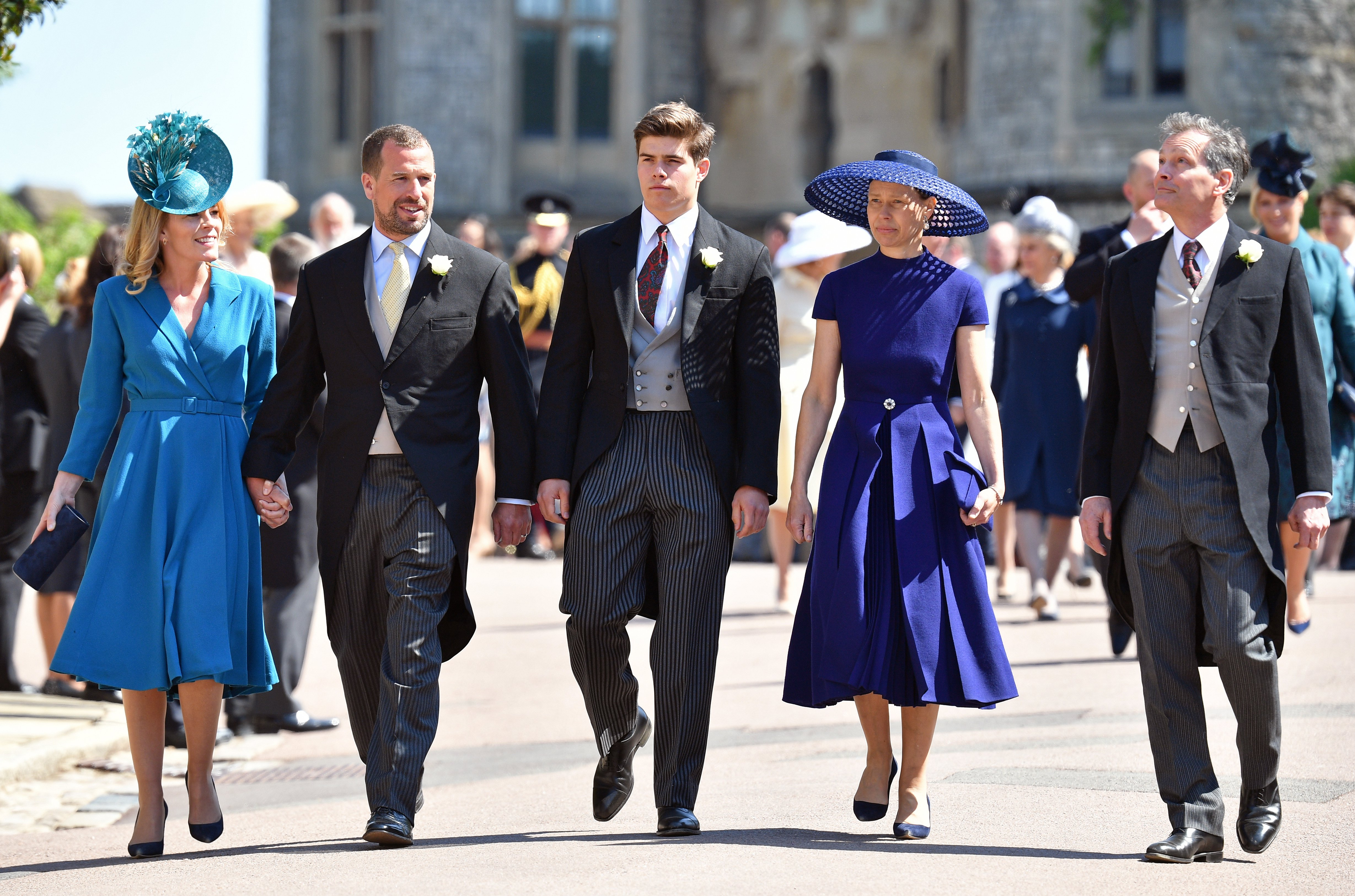 Autumn Phillips, Peter Phillips, Arthur Chatto, Lady Sarah Chatto and Daniel Chatto attend the wedding of Prince Harry to Ms Meghan Markle on May 19, 2018, in Windsor, England. | Source: Getty Images.