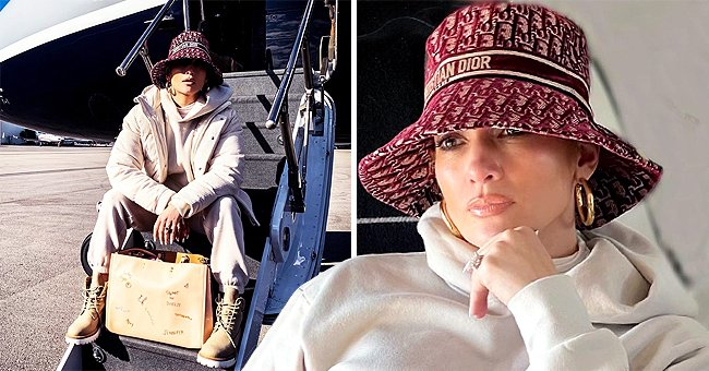 J Lo, 51, Looks Half Her Age Boarding a Private Plane in a Dior Hat & Stylish White Tracksuit