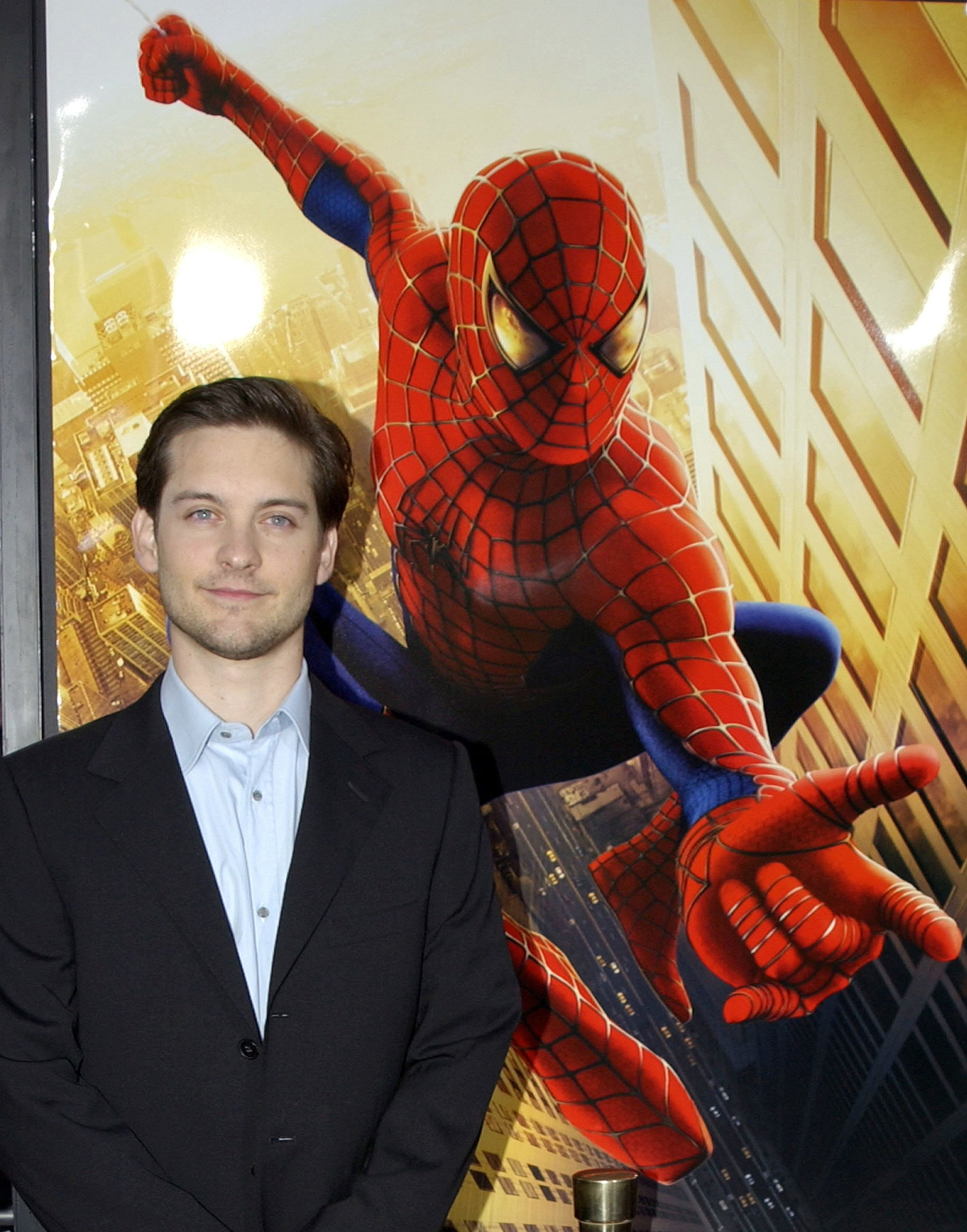 """Tobey Maguire at the premier of """"Spider-Man"""" at Mann Village in Westwood, California   Photo: Albert L. Ortega/WireImage via Getty Images"""