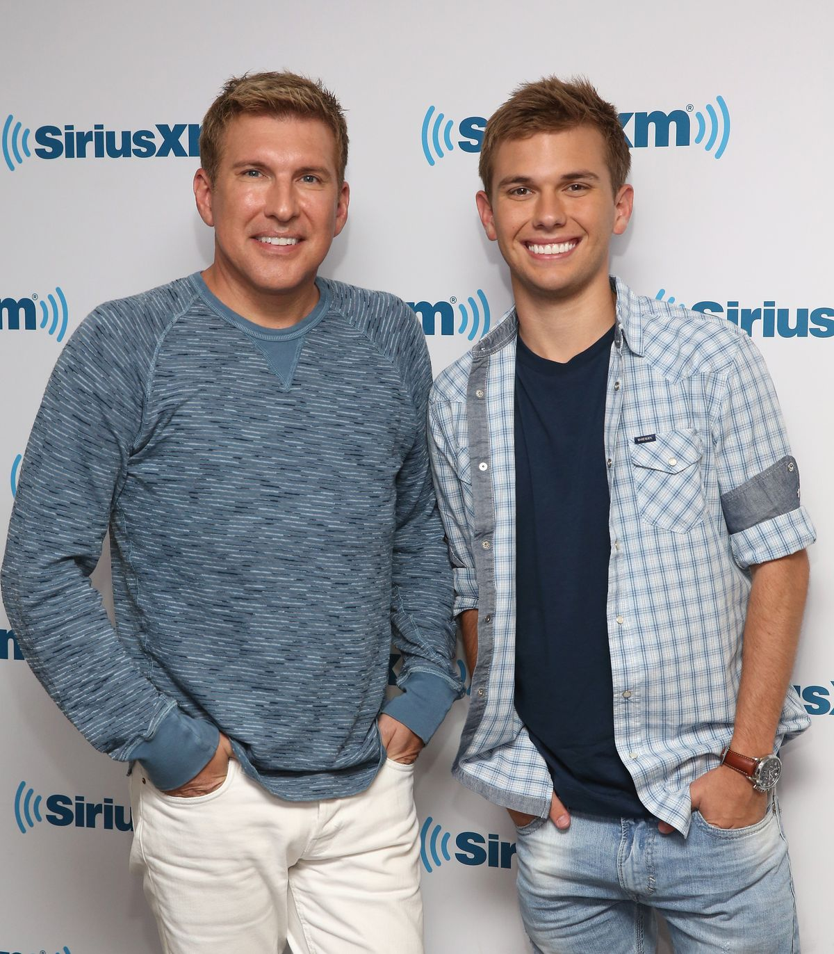 Todd and Chase Chrisley visit SiriusXM Studios on May 15, 2015, in New York City | Photo: Robin Marchant/Getty Images