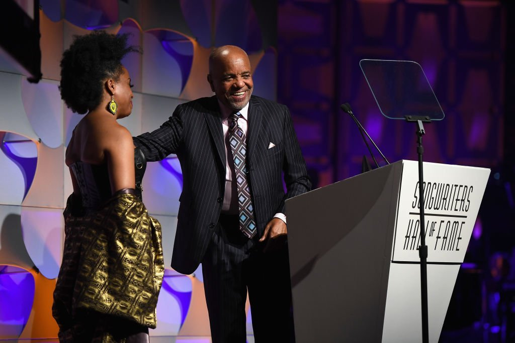 Rhonda Ross Kendrick presents the award to 2017 Inductee Berry Gordy onstage at the Songwriters Hall Of Fame 48th Annual Induction and Awards at New York Marriott Marquis Hotel | Photo: Getty Images