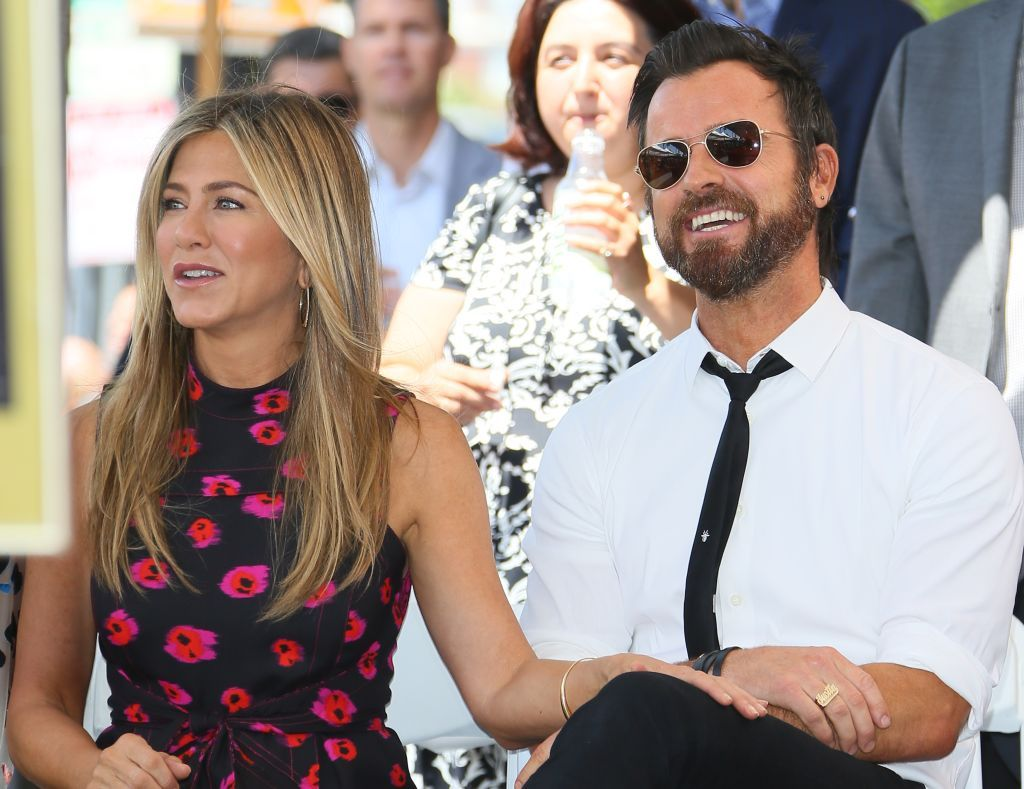 Jennifer Aniston and Justin Theroux at the ceremony honoring Jason Bateman on July 25, 2017 in Hollywood | Getty Images