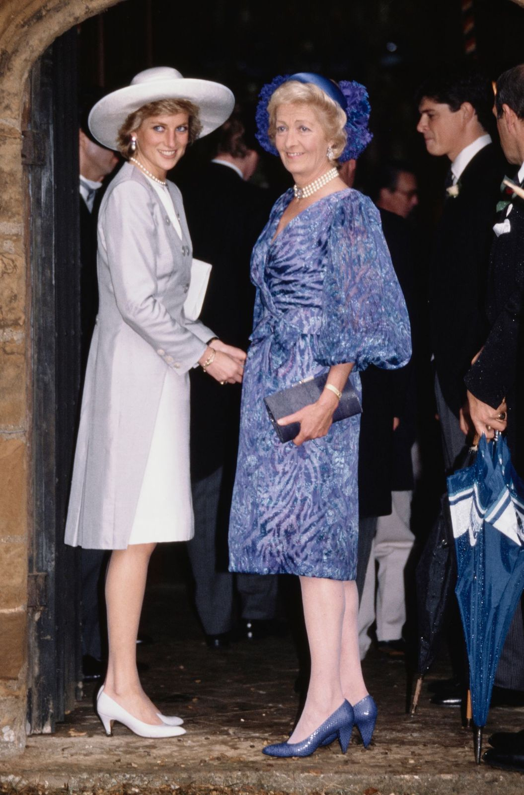 Diana, Princess of Wales (1961 - 1997) with her mother Frances Shand Kydd at the wedding of Diana's brother Viscount Althorp to Victoria Lockwood at St Mary's Church in Great Brington, Northamptonshire, 16th September 1989   Getty Images