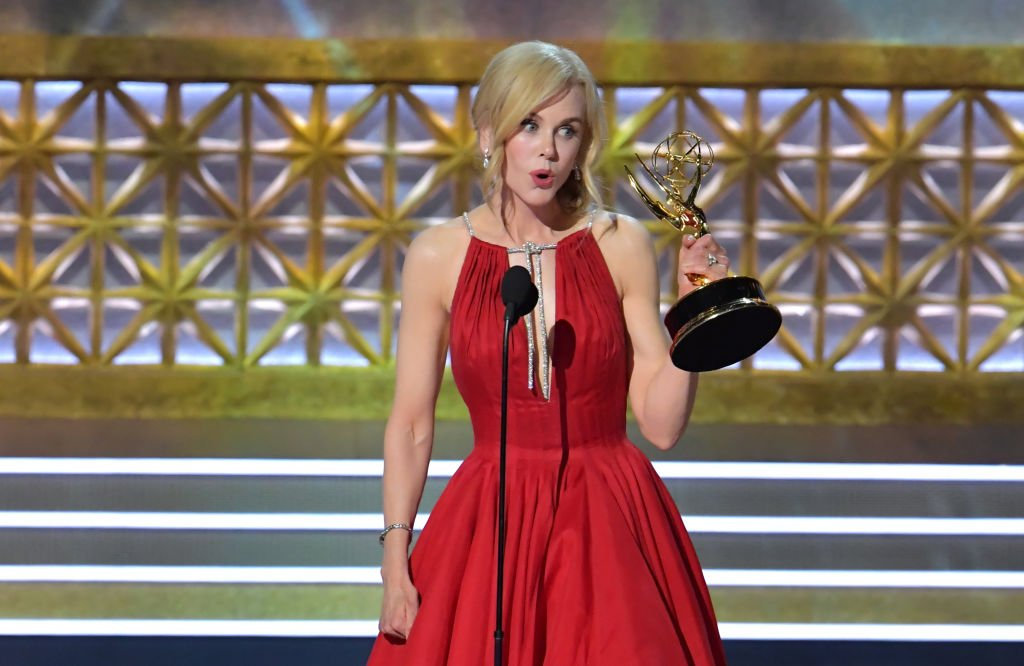 """Nicole Kidman accepting the award for the Outstanding Lead Actress in a Limited Series or Movie for """"Big Little Lies"""" at the Emmys on September 17, 2017 in Los Angeles 