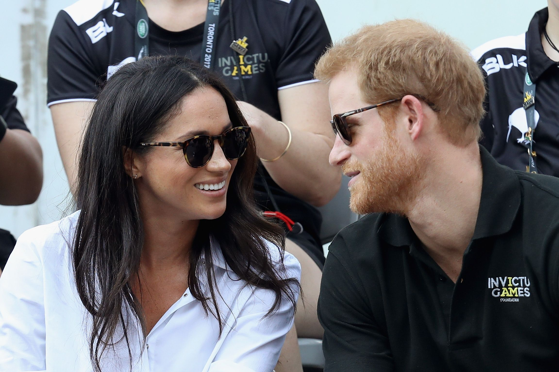 Meghan Markle and Prince Harry during a Wheelchair Tennis match during the Invictus Games on September 25, 2017, in Toronto, Canada.   Source: Getty Images