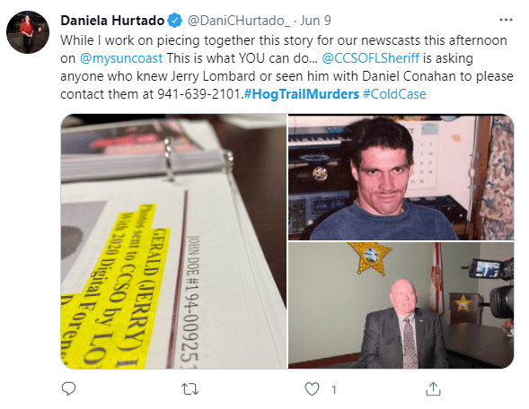 Police are working on piecing together the link between Gerry Lombard and Daniel O. Conahan on June 9, 2021 | Photo: Twitter/@DaniCHurtado_