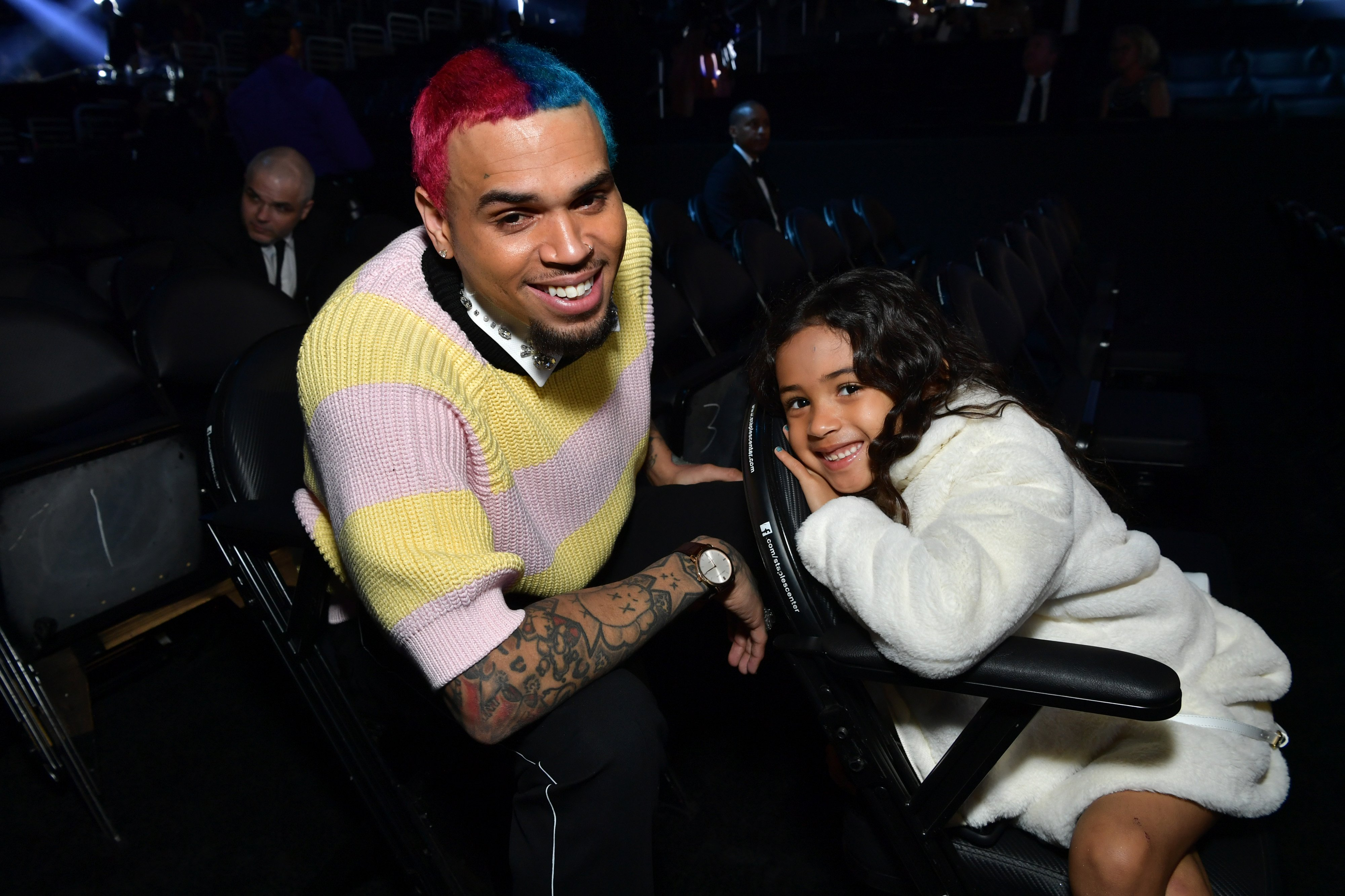 Chris Brown and his daughter, Royalty at the Grammy Awards in January 2020.   Photo: Getty Images