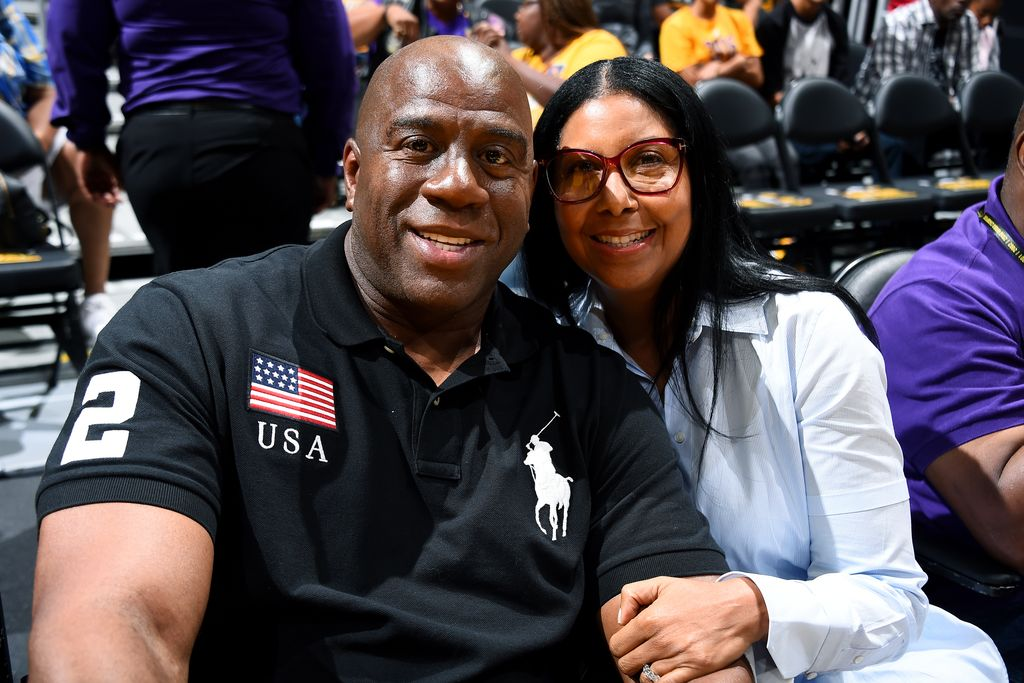 "Magic Johnson poses for a picture with his wife Earlitha ""Cookie"" Kelly Johnson before the game between the Los Angeles Sparks and the Phoenix Mercury, September 2017