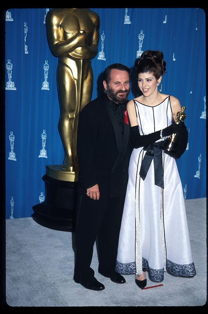 "Actors Joe Pesci and Marisa Tomei stand together at the 65th annual Academy Awards March 29, 1993 in Los Angeles, CA. Tomei won the Best Supporting Actress award for her role in ""My Cousin Vinny."" 