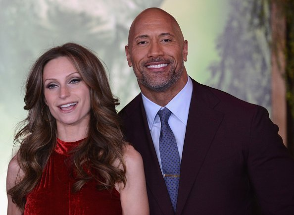 "Dwayne ""The Rock"" Johnson and Lauren Hashian at the Premiere Of Columbia Pictures' ""Jumanji: Welcome To The Jungle"" on December 11, 2017 