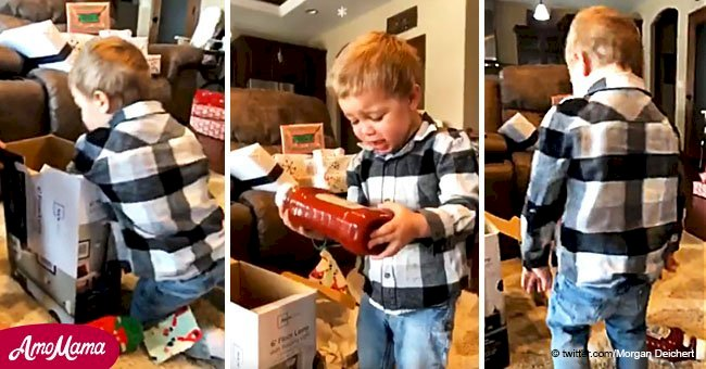 Little boy gets a bottle of ketchup for Christmas and his reaction is pure gold