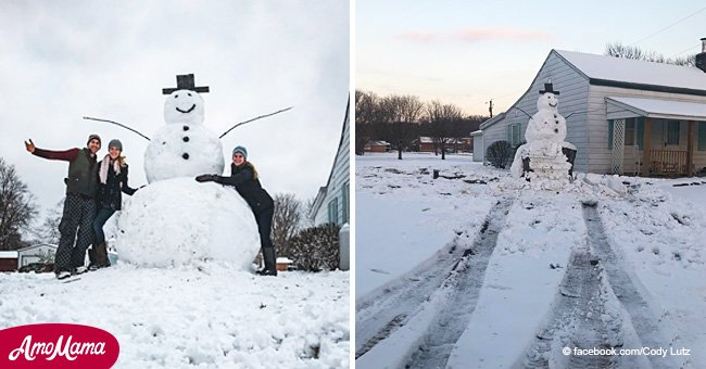 Vandal driver 'attacked' a giant snowman but suffered 'instant karma'