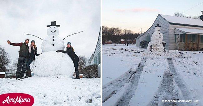 """Un conducteur barbare a 'attaqué' un bonhomme de neige géant mais a subi un """"karma instantané"""""""