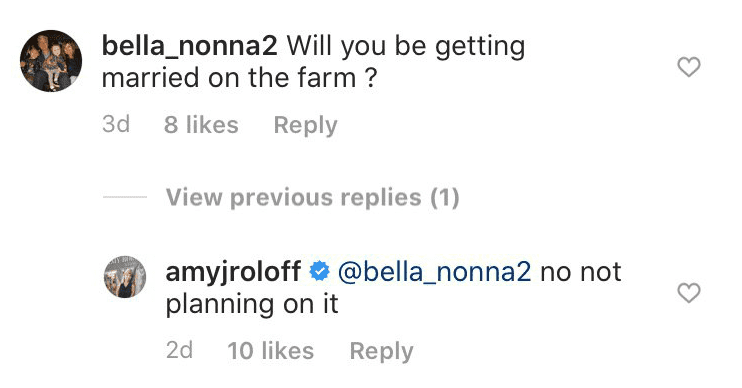 User bella_nonna2's comment on Amy Roloff's engagement | Photo: Instagram/ AmyJRoloff