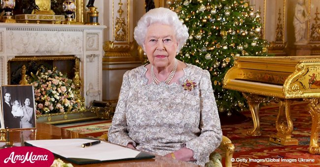 Queen Elizabeth chose an elegant white dress with ornate silver lace for her Christmas broadcast