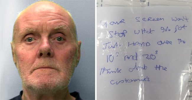 A mugshot of the 67-year-old retired man, Alan Slattery, after a botched robbery attempt   Photo: facebook.com/sussexpoliceforce