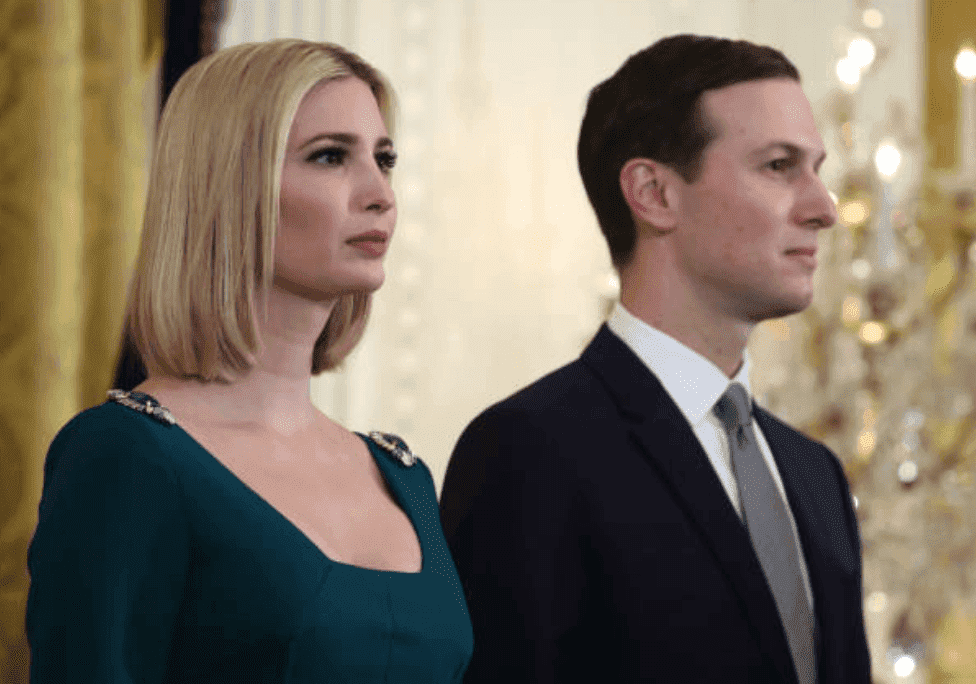 Ivanka Trump and her husband Jared Kushner stand side by side at a Hanukkah Reception in the East Room of the White House, on December 11, 2019 in Washington, DC | Source: Mark Wilson/Getty Images