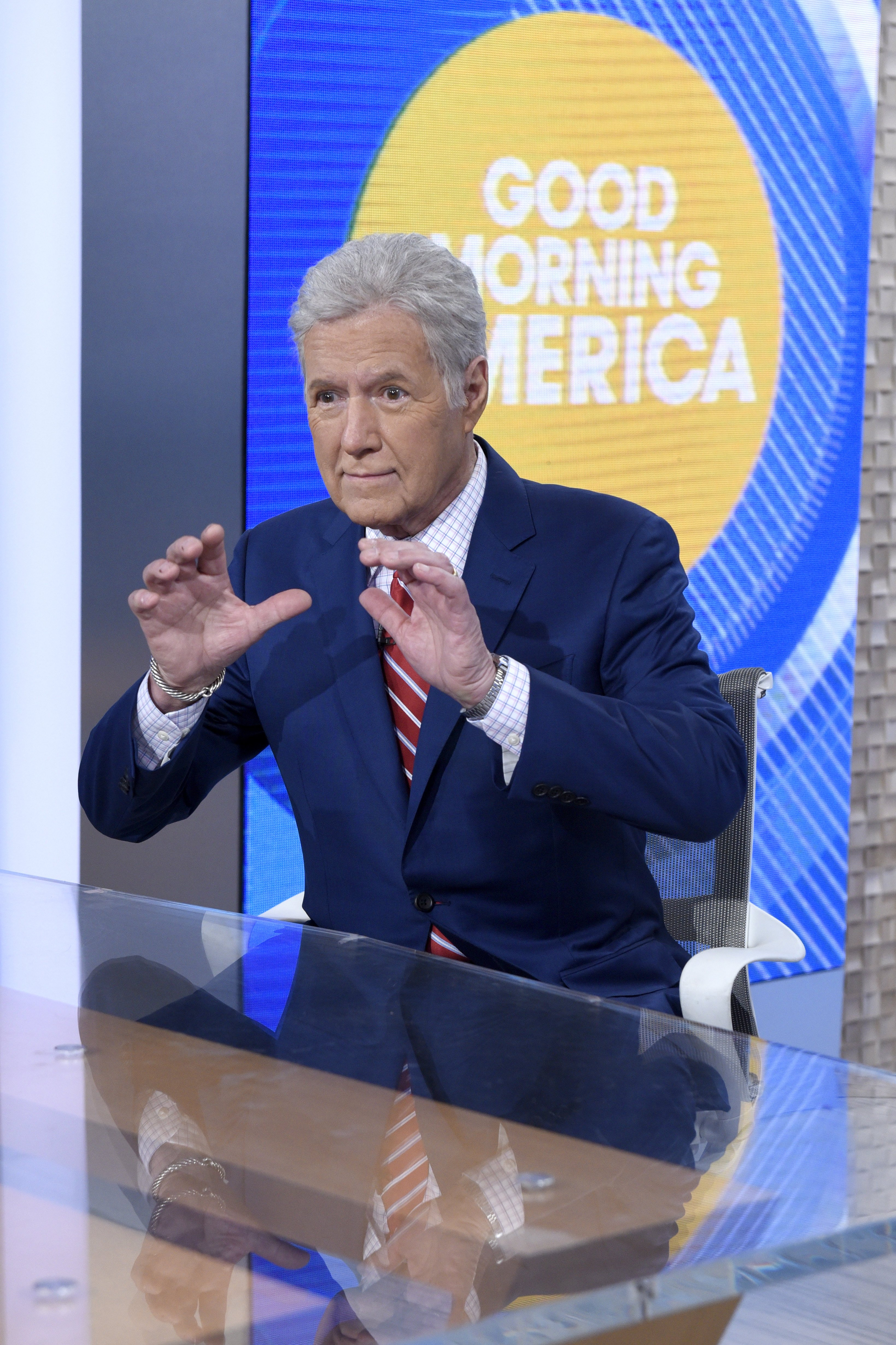 "Alex Trebek visits ""Good Morning America"" to speak to Robin Roberts on May 1, 2019 