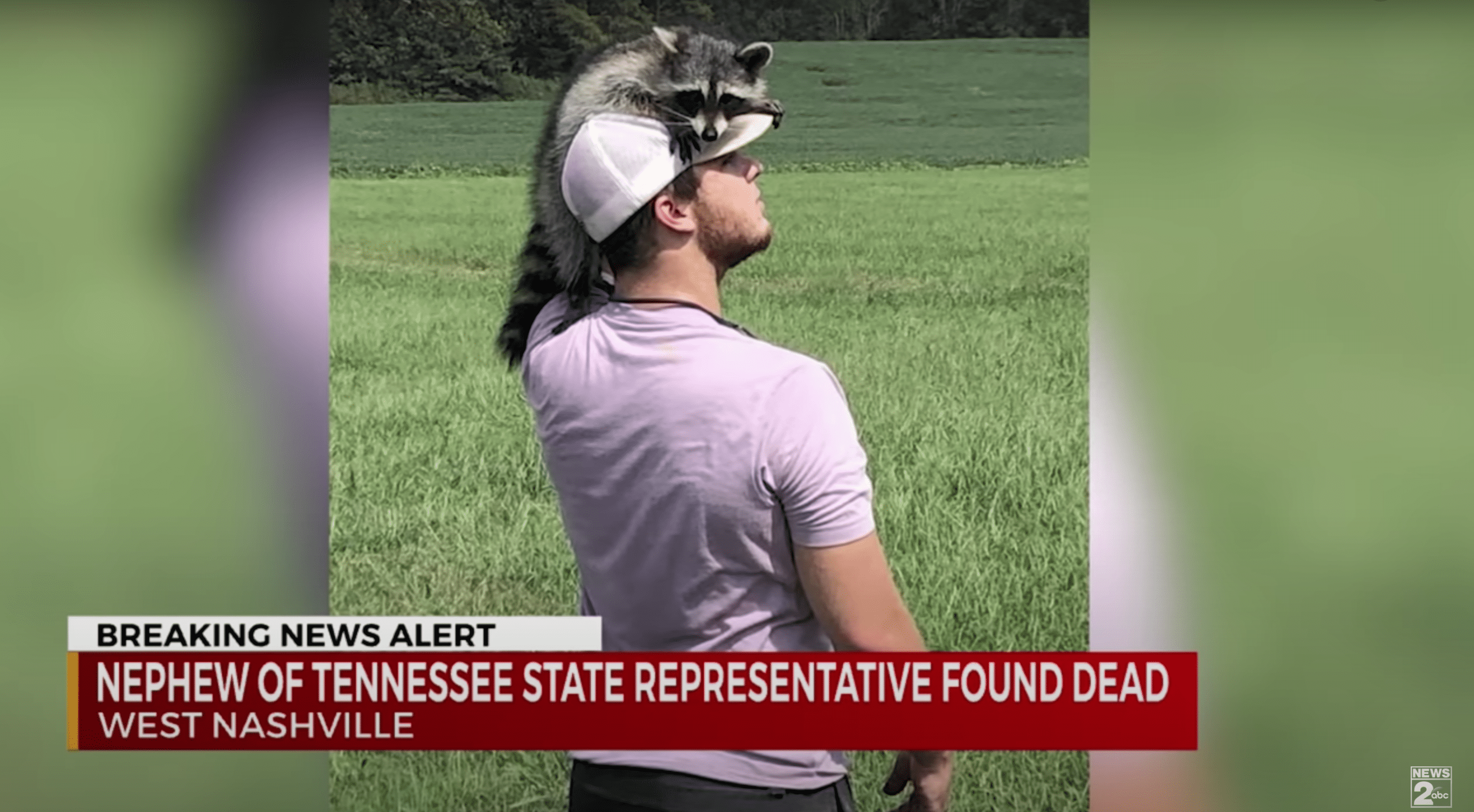 A young man who was tragically shot dead is pictured before his death enjoying nature as a racoon sits on his head | Photo: Youtube/WKRN News 2