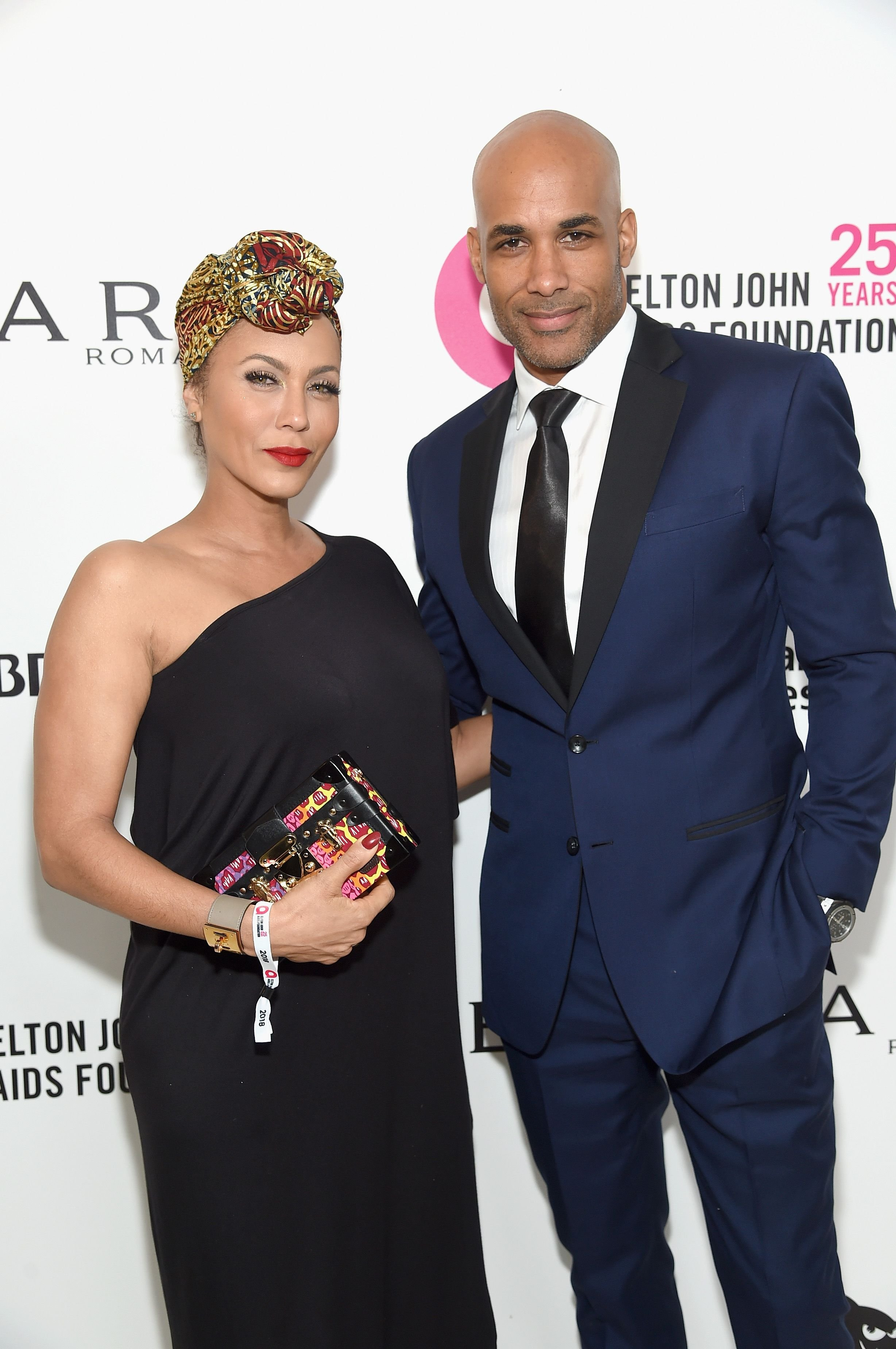 Nicole Ari Parker (L) and Boris Kodjoe attends the 26th annual Elton John AIDS Foundation Academy Awards Viewing Party at The City of West Hollywood Park on March 4, 2018 in West Hollywood, California. | Source: Getty Images