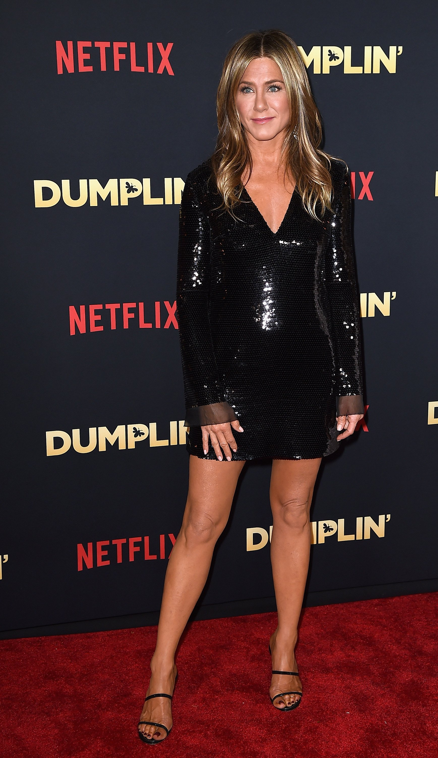 "Jennifer Aniston attends the premiere of Netflix's ""Dumplin'"" at TCL Chinese 6 Theatres on December 6, 2018, in Hollywood, California. 