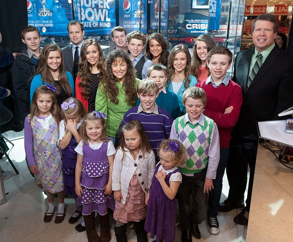 """The Duggar family visits """"Extra"""" at their New York studios at H&M in Times Square. 