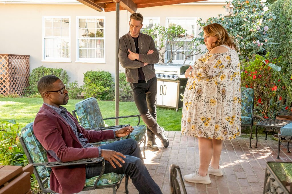 """Strangers: Part Two"" Episode 418 — Sterling K. Brown as Randall, Justin Hartley as Kevin, Chrissy Metz as Kate. 