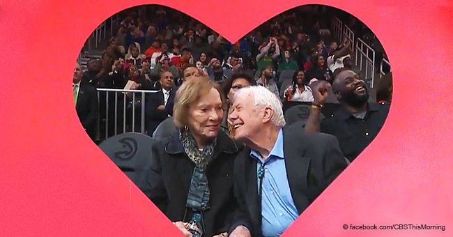 Embarrassed Jimmy Carter out on a date with wife Rosalynn was spotted by the famous Kiss Cam
