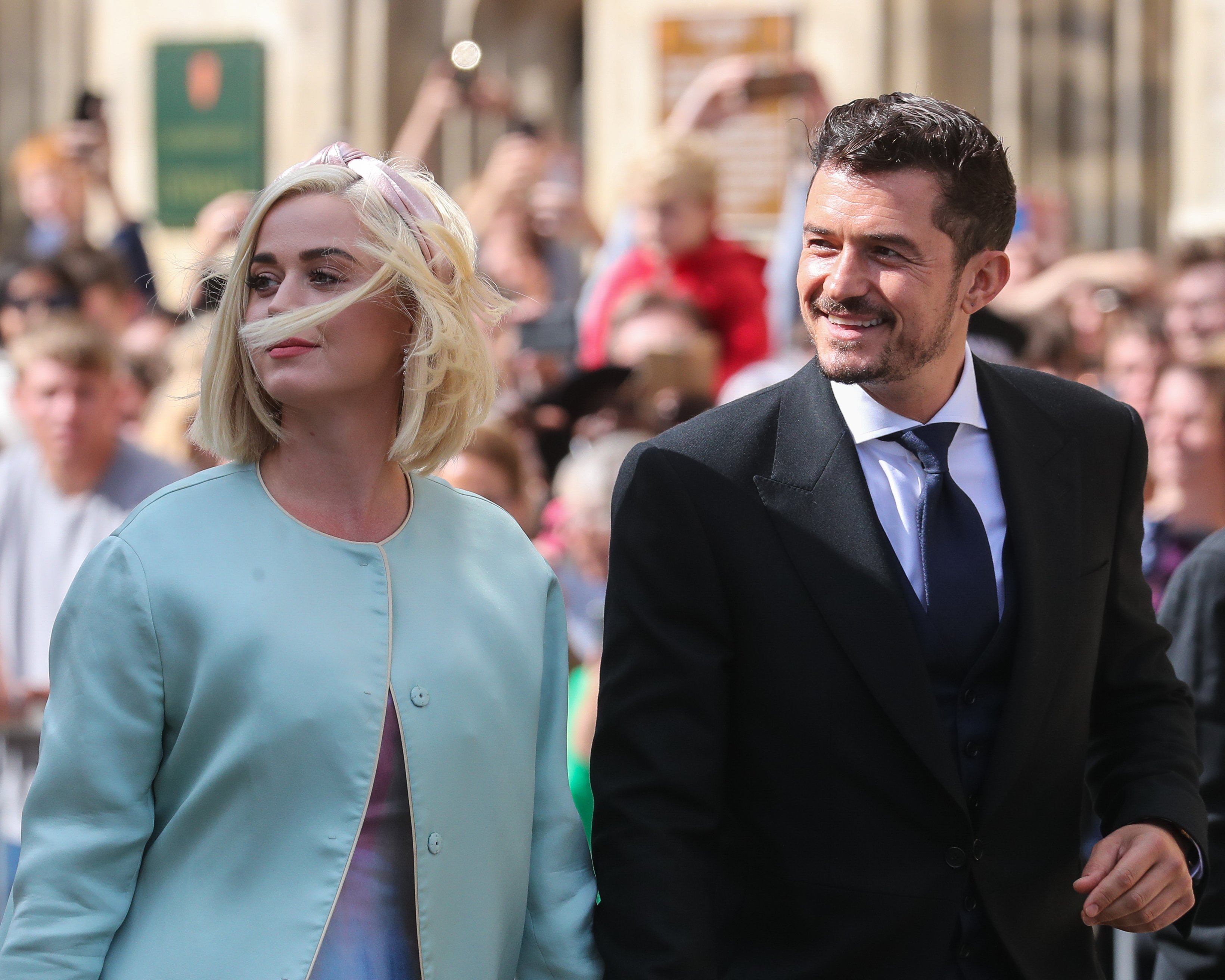 Katy Perry and Orlando Bloom seen at the wedding of Ellie Goulding and Caspar Jopling on August 31, 2019, in York, England. | Source: Getty Images.