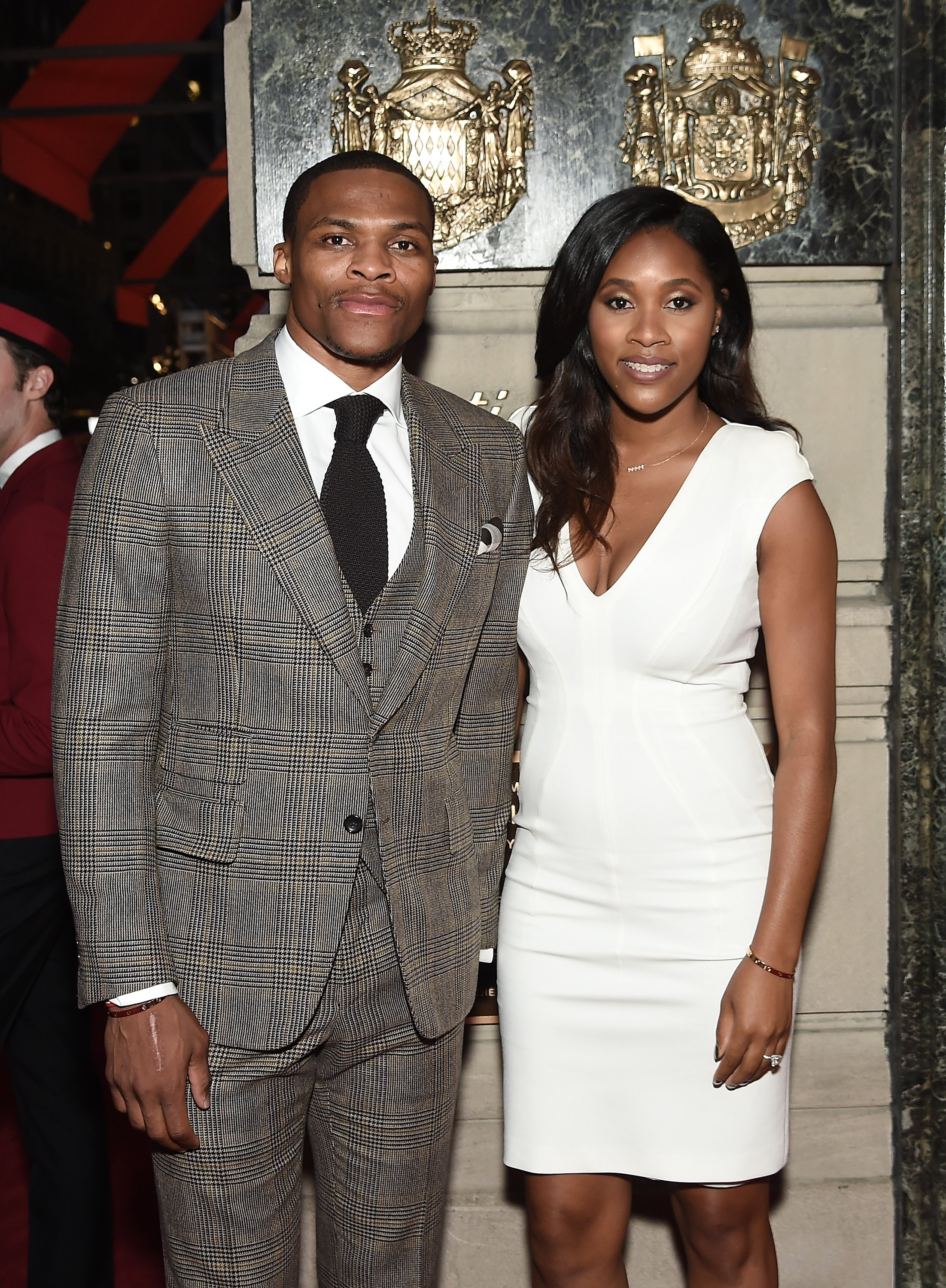 Russell Westbrook and wife Nina at The Cartier Fifth Avenue Grand Reopening Event at the Cartier Mansion on September 7, 2016 in NYC. | Photo by Nicholas Hunt/Getty Images