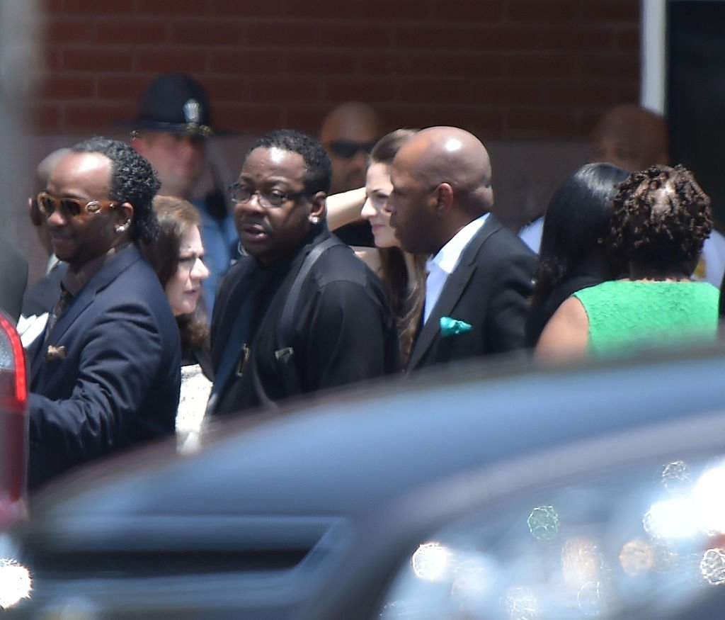 Bobby Brown at the funeral of his and Whitney Houston's daughter, Bobbi Kristina Brown on August 1, 2015 at St. James United Methodist Church in Alpharetta, Georgia. | Source: Getty