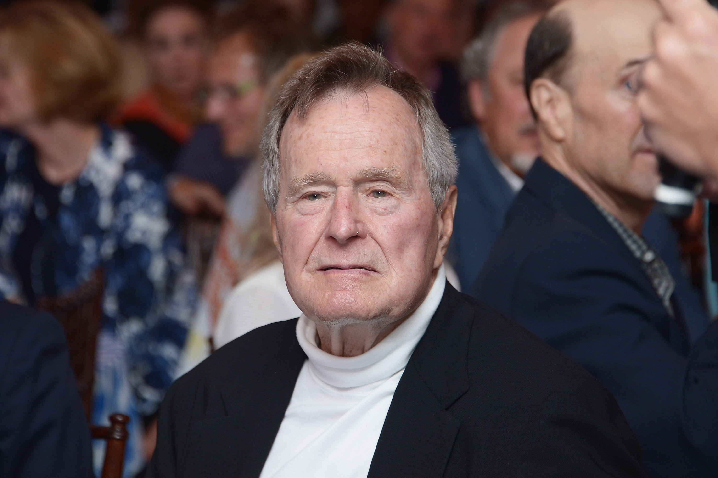 """Former U.S. President George H.W. Bush celebrating his 88th birthday after the premiere of HBO Documentary's screening of """"41"""" 