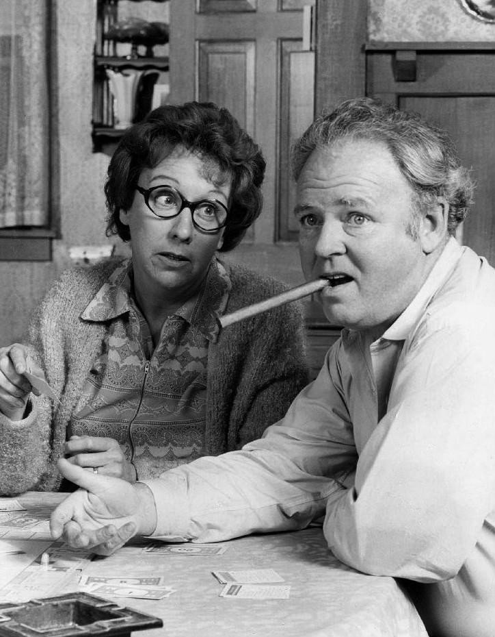 "Jean Stapleton and Carroll O'Connor as Edith and Archie Bunker in ""All In the Family"" 