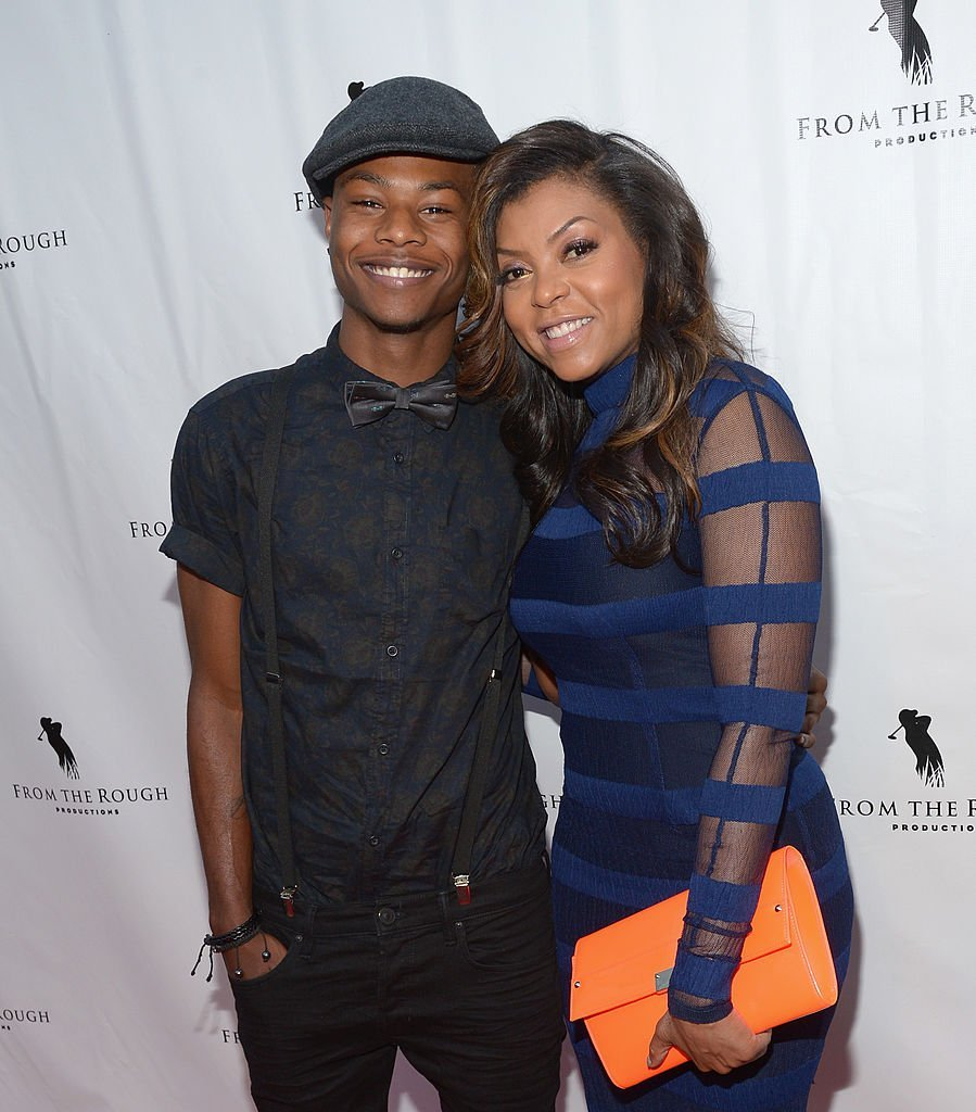 "Actress Taraji P. Henson (R) and son Marcel Henson attend the screening of ""From The Rough"" at ArcLight Cinemas  