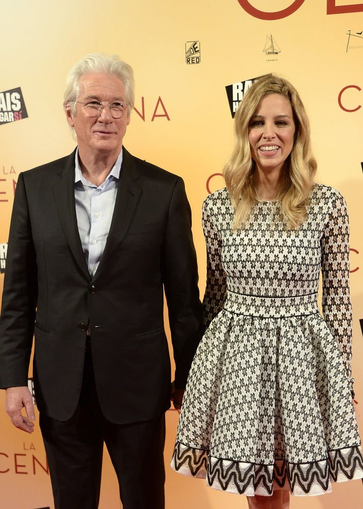 Richard Gere and Alejandra Silva attend the 'La Cena' (The Dinner) premiere at the Capitol cinema on December 11, 2017, in Madrid, Spain. | Source: Getty Images.