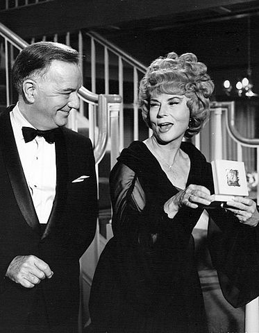 "Photo of Samantha's parents, Maurice (Maurice Evans) and Endora (Agnes Moorehead) in ""Bewitched."" 