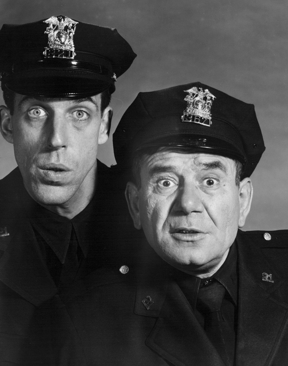 """Photo of Fred Gwynne and Joe E. Ross as Muldoon and Toody from """"Car 54, Where Are You?,"""" circa 1960s. 