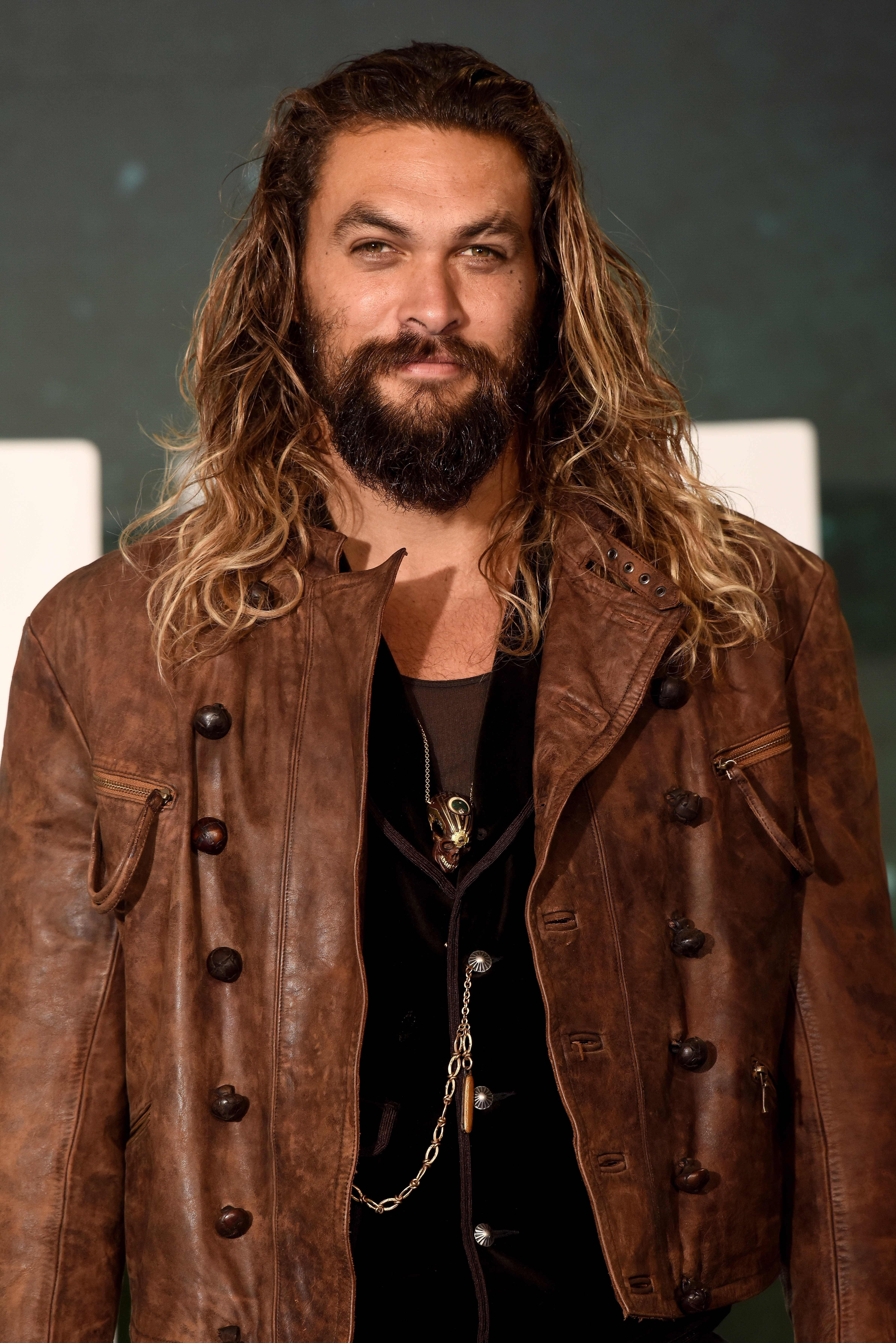 "Jason Momoa attending the ""Justice League"" photocall in November 2017. 