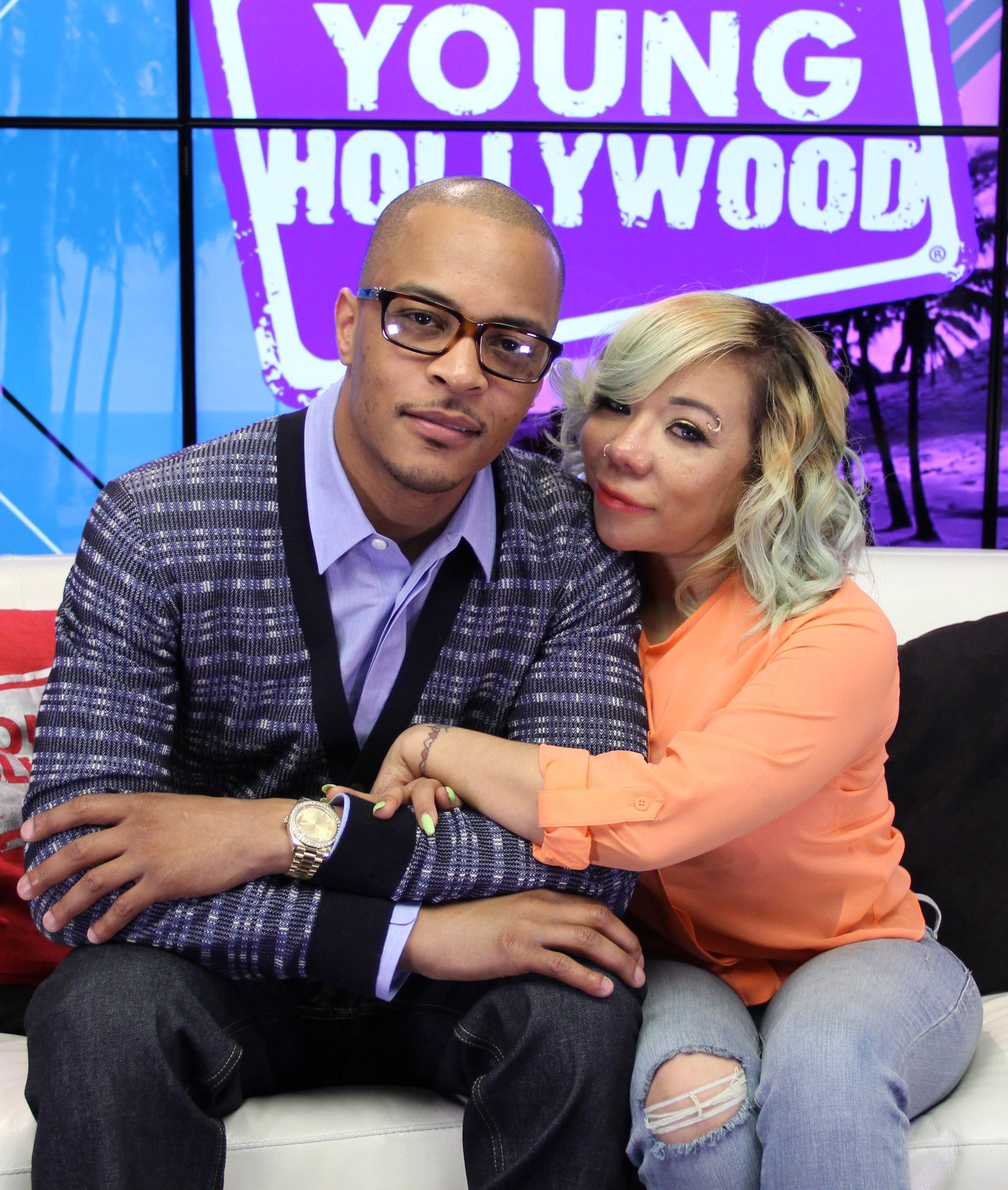 T.I. and Tiny Harris at the Young Hollywood Studio on June 1, 2015 in Los Angeles, California. | Source: Getty Images