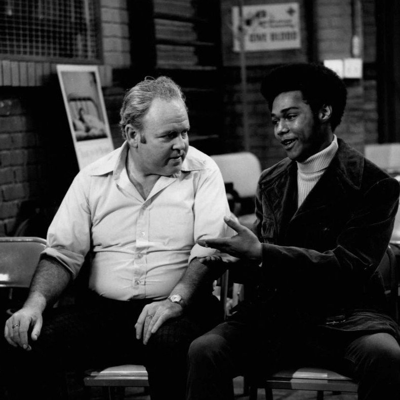 "Carroll O'Connor (Archie Bunker) and Michael Evans (Lionel Jefferson) in ""All in the Family"" 