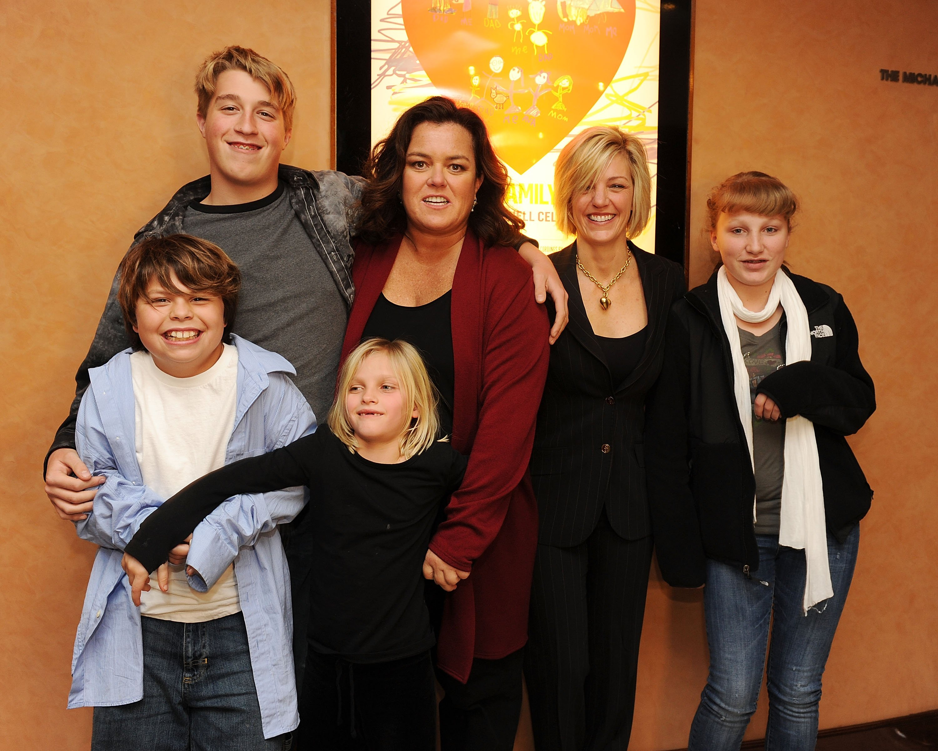 "Rosie O'Donnell with her five children at the screening of ""A Family is a Family"" in New York City on January 19, 2010 