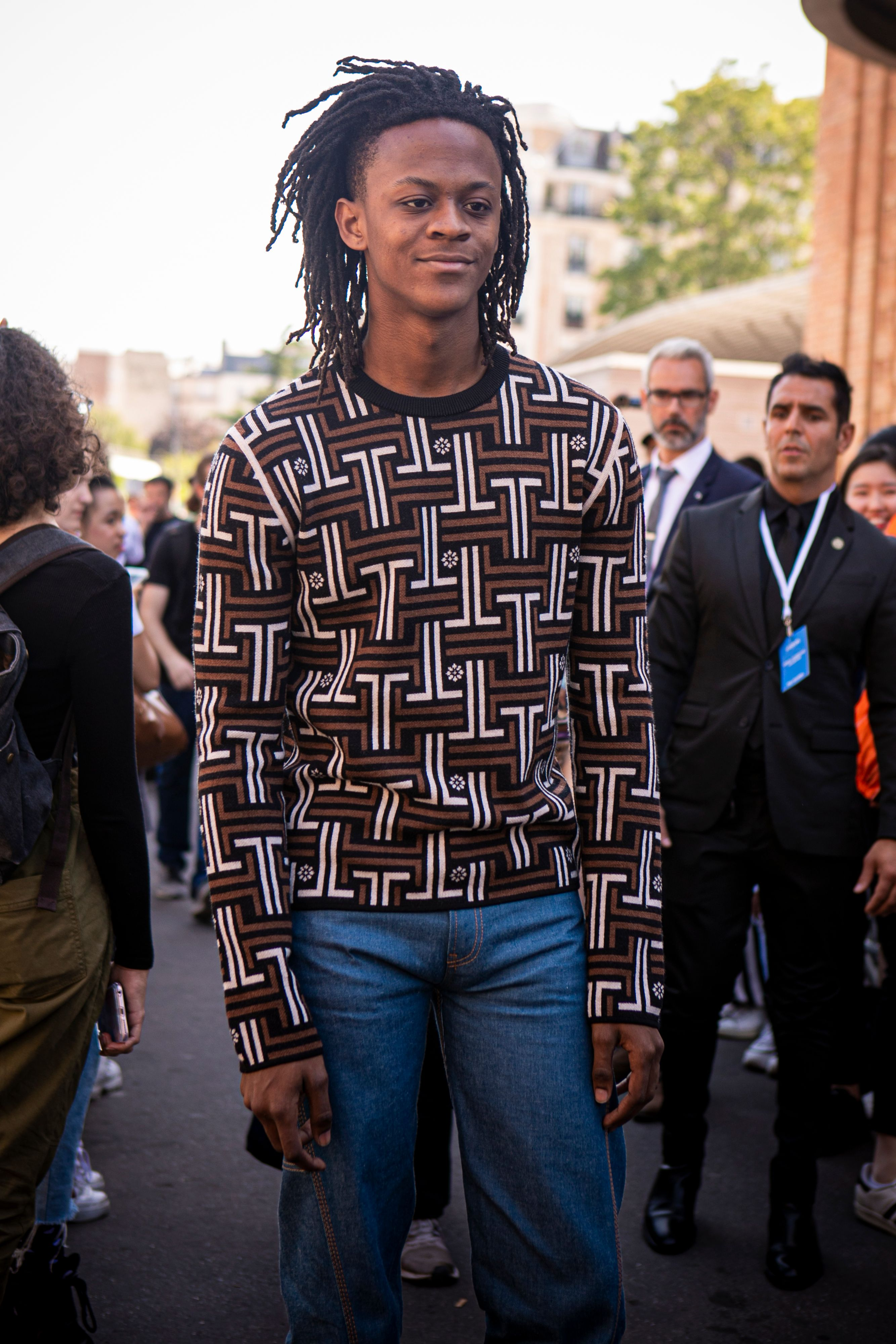 Myles B. O'Neal at the Lanvin fashion show during Paris Fashion Week Spring/Summer 2020 in June 2019 in Paris, France | Source: Getty Images