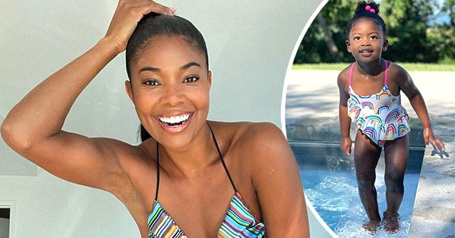 Gabrielle Union and her daughter Kaavia in a photo collage.   Photo: instagram.com/kaaviajames  instagram.com/gabunion